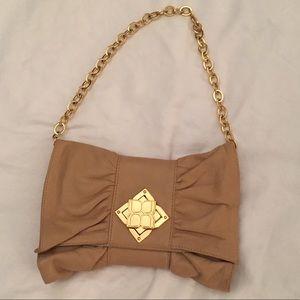 Gold/beige clutch purse
